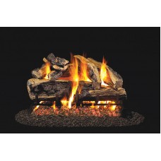 Real Fyre Charred Rugged Split Oak with Stainless Steel G45 See-Thru burner